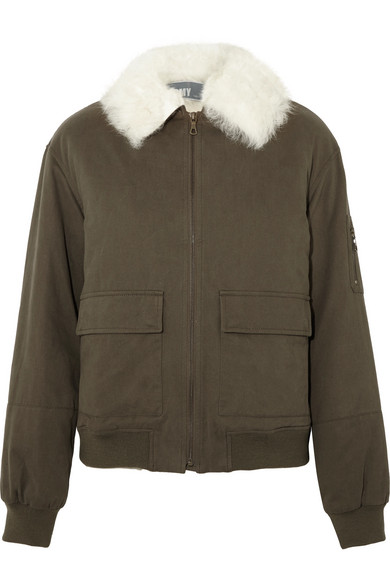 Yves Salomon - Shearling-trimmed Cotton-twill Bomber Jacket - Army green