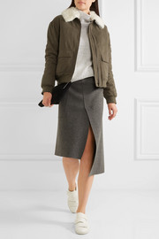 Shearling-trimmed cotton-twill bomber jacket