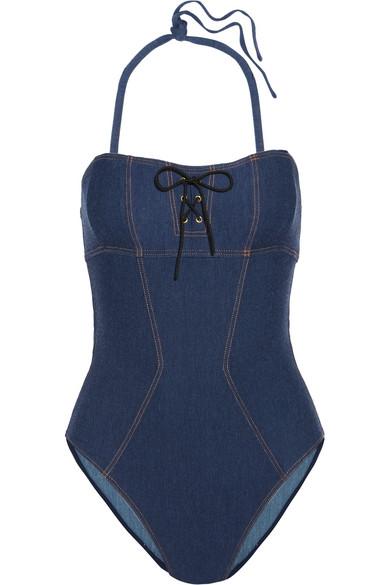 L'Agent by Agent Provocateur - Sophiia Lace-up Swimsuit - Mid denim