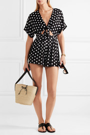 Polka-dot embroidered poplin playsuit