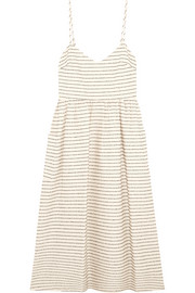 Striped cotton-blend midi dress