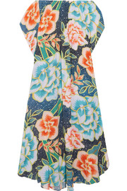Arcadia off-the-shoulder printed plissé-crepe maxi dress