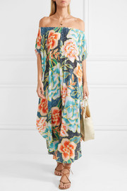 Mara Hoffman Arcadia off-the-shoulder printed plissé-crepe maxi dress