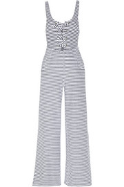 Striped organic cotton-blend terry jumpsuit