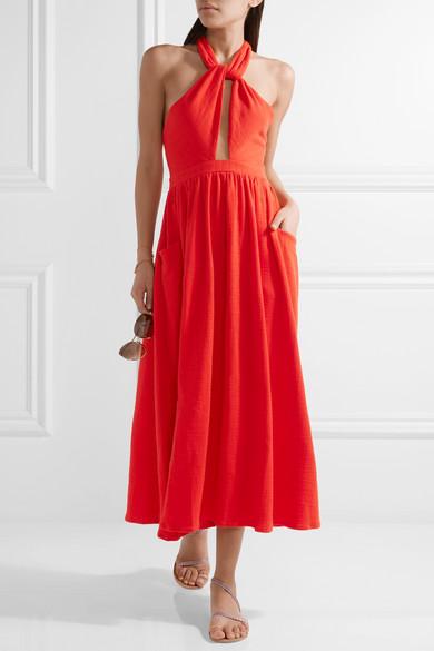 Mara Hoffman Cutout Cotton Gauze Halterneck Midi Dress Net A