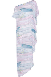 Waves asymmetric printed crepon maxi dress