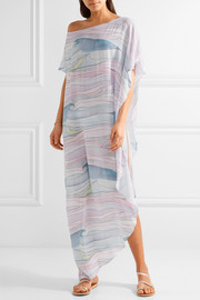 Mara Hoffman Waves asymmetric printed crepon maxi dress