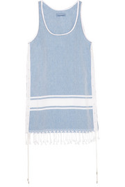Lebron fringed cotton-chambray dress