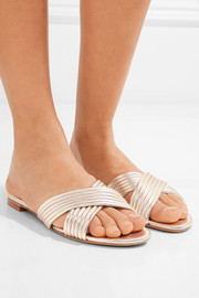 Lassie quilted metallic textured-leather slides