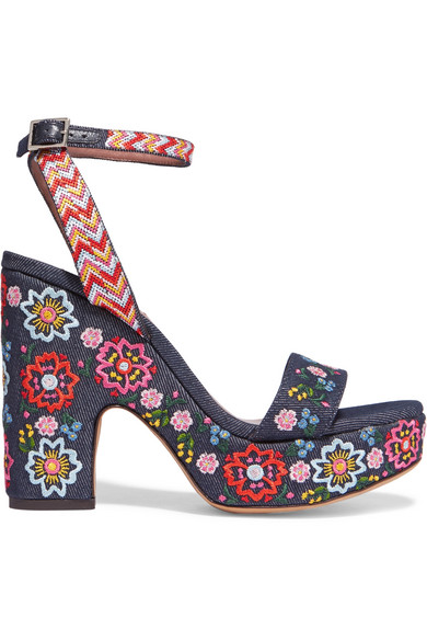 Tabitha Simmons - Calla Festival Embroidered Denim Sandals - Dark denim