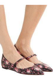 Hermione floral-print leather point-toe flats