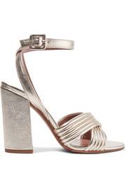 Nora quilted metallic textured-leather sandals
