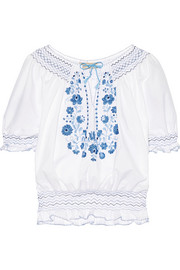 Dora smocked embroidered cotton-poplin blouse