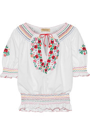 Dora embroidered cotton-poplin blouse