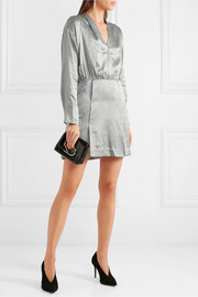 Vivien wrap-effect silk-jacquard mini dress