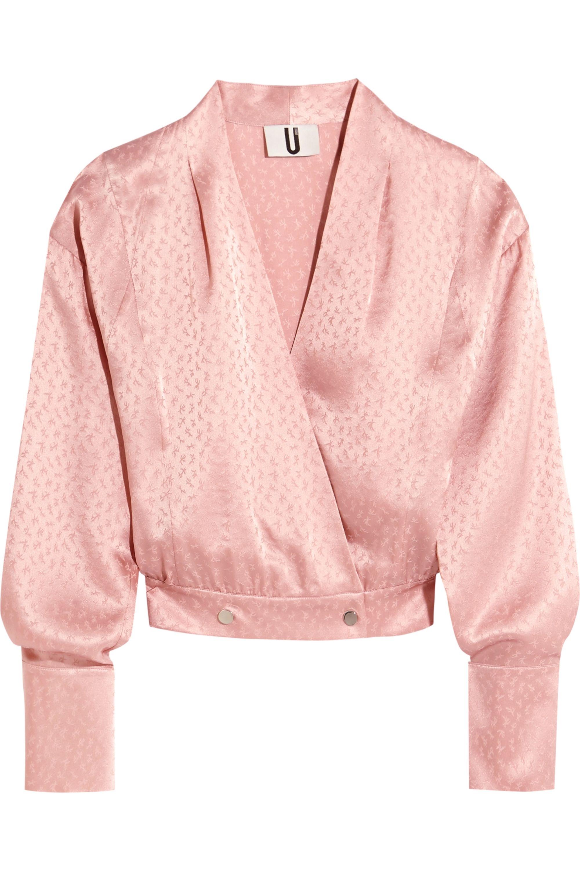 Topshop Unique Silk-jacquard wrap blouse