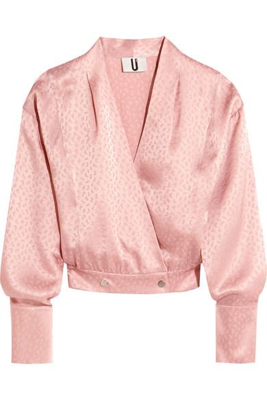 Topshop Unique - Silk-jacquard Wrap Blouse - Pastel pink