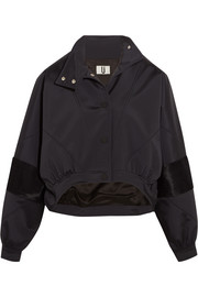 Cropped calf hair-paneled shell jacket