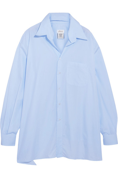 Vetements. + Brioni oversized frayed cotton-poplin shirt