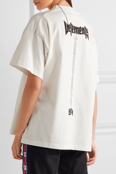 Vetements hanes staff oversized printed cotton jersey for Vetements basic staff t shirt