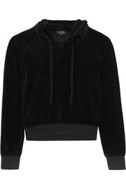 Vetements + Juicy Couture embellished cotton-blend velour hooded top