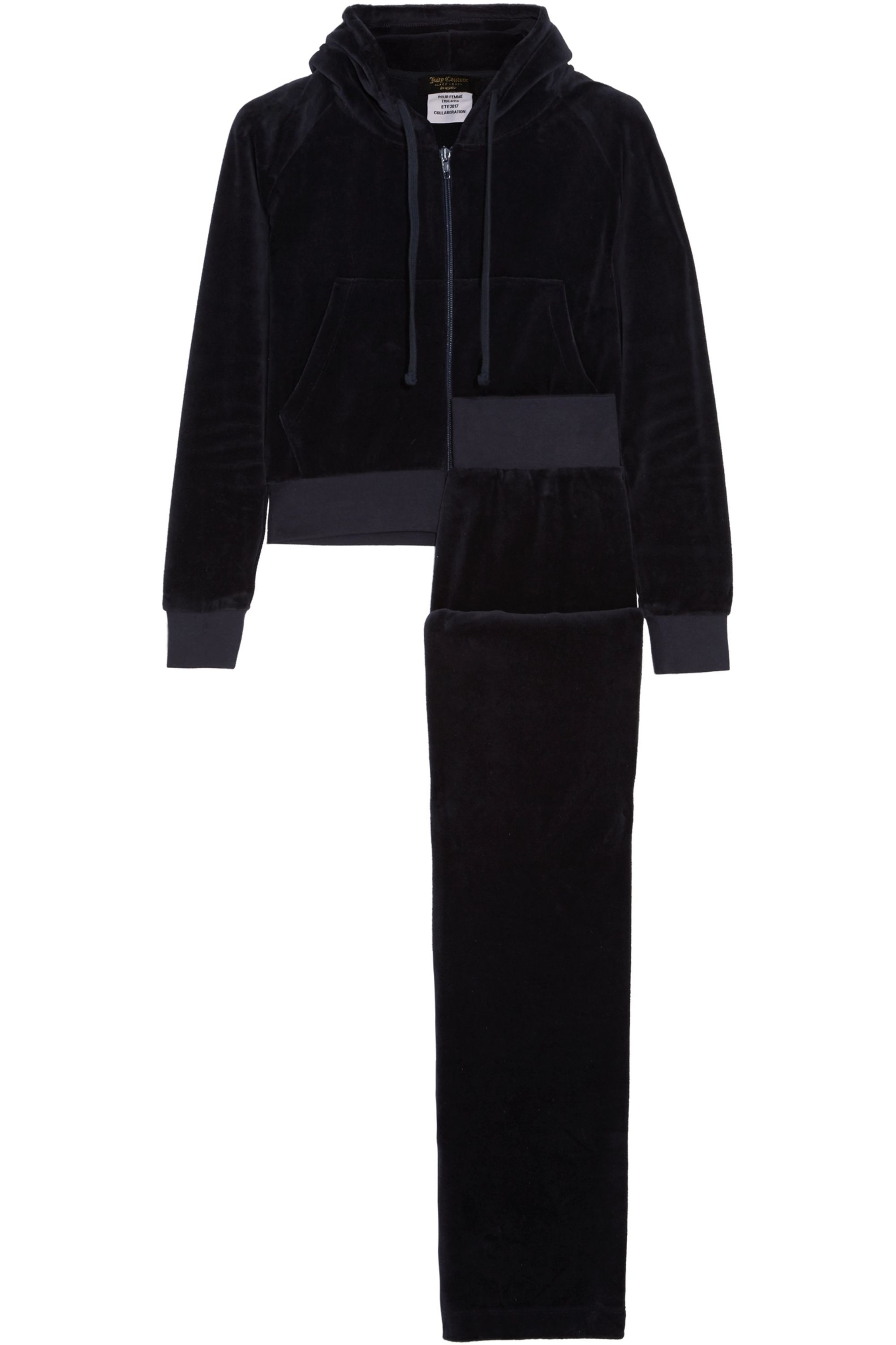 Vetements + Juicy Couture embroidered cotton-blend velvet tracksuit