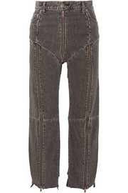 Vetements + Levi's distressed zip-detailed high-rise straight-leg jeans