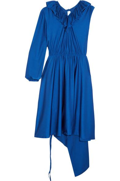 Vetements - Asymmetric Ruffled Stretch-satin Dress - Royal blue