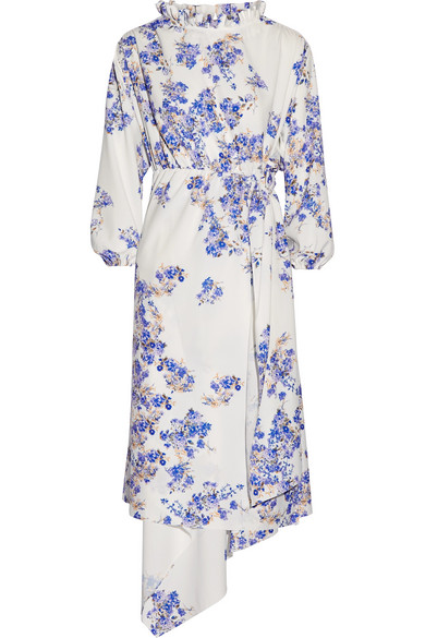 Vetements - Asymmetric Floral-print Stretch-crepe Wrap Dress - White