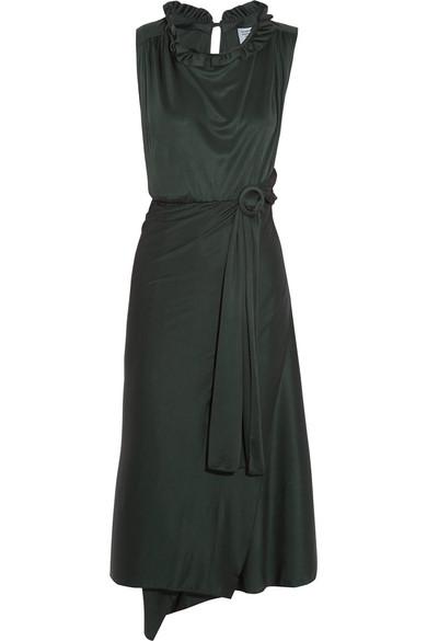 Vetements - Ruffled Cutout Silk-jersey Wrap Dress - Emerald