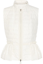 Moncler Valensole paneled quilted cotton and broderie anglaise down gilet