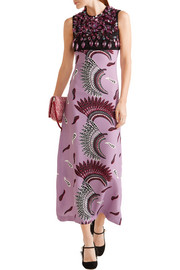 Miu Miu Embellished printed stretch-crepe midi dress