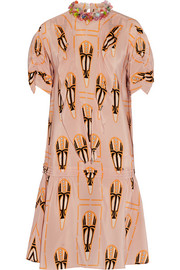 Miu Miu Embellished printed silk-chiffon dress