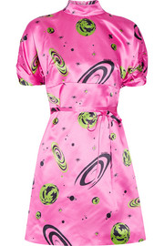 Miu Miu Printed silk-satin mini dress