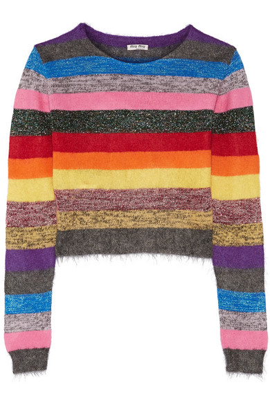 Miu Miu - Cropped Metallic Striped Stretch-knit Sweater - Pink