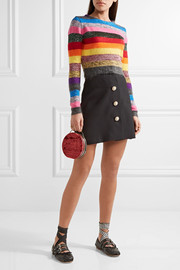 Miu Miu Cropped metallic striped stretch-knit sweater