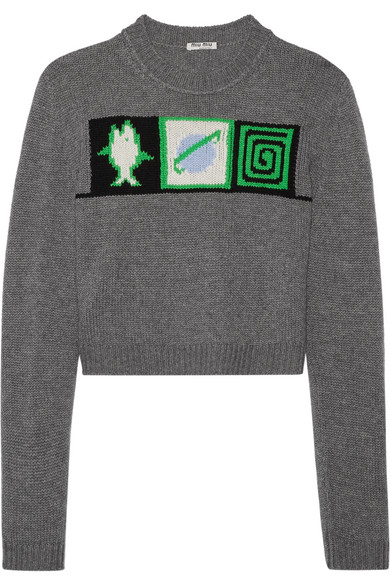 Cropped Intarsia Cashmere Sweater by Miu Miu