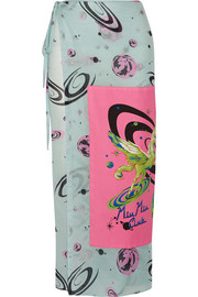 Miu Miu Printed cotton-voile skirt