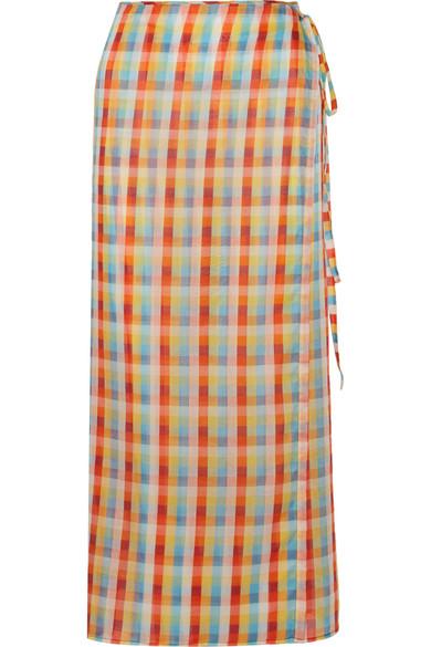 Miu Miu - Checked Cotton-voile Wrap Midi Skirt - Orange