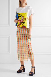 Miu Miu Checked cotton-voile wrap midi skirt