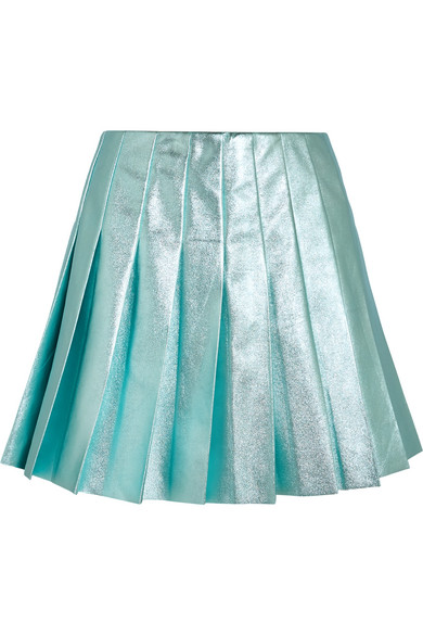 Miu Miu - Pleated Metallic Leather Mini Skirt - Turquoise