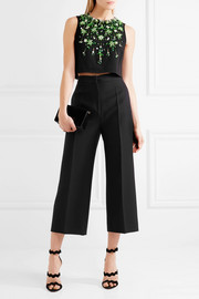 Miu Miu Cropped embellished stretch-crepe top