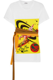 Miu Miu Bow-embellished printed cotton-jersey T-shirt