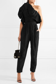 One-shoulder ruffled taffeta jumpsuit