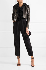 Carmen March Crepe-ruffled cropped leather jacket