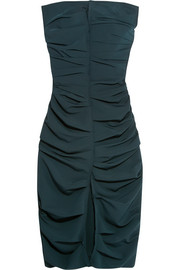 Strapless ruched crepe dress
