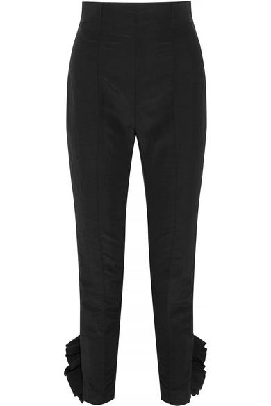 Ruffled taffeta slim-leg pants