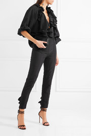 Ruffled taffeta slim-leg pants