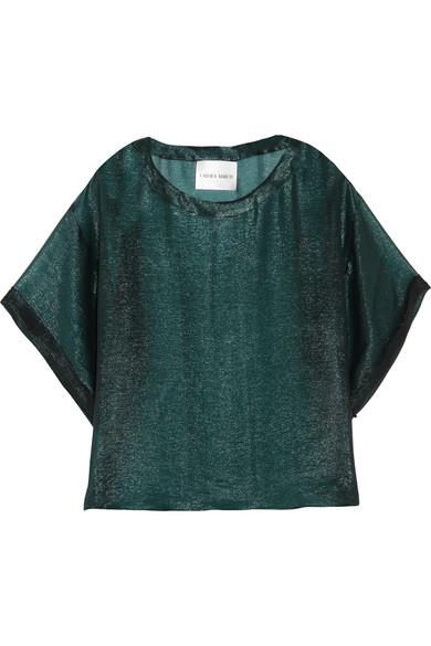 Carmen March - Silk-blend Lamé Top - Green