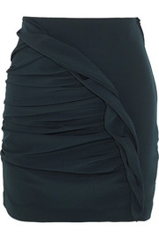 Basilico ruched crepe mini skirt